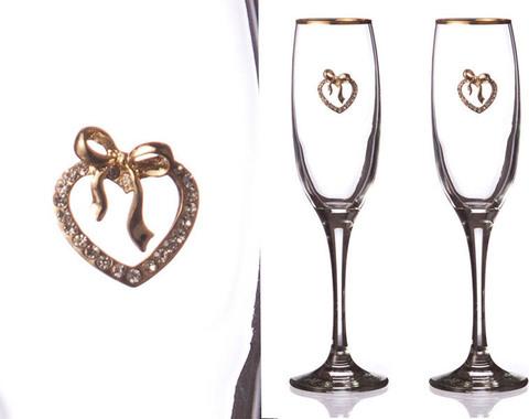 Набор бокалов для шампанского с сердечками, 170 мл, 2 шт