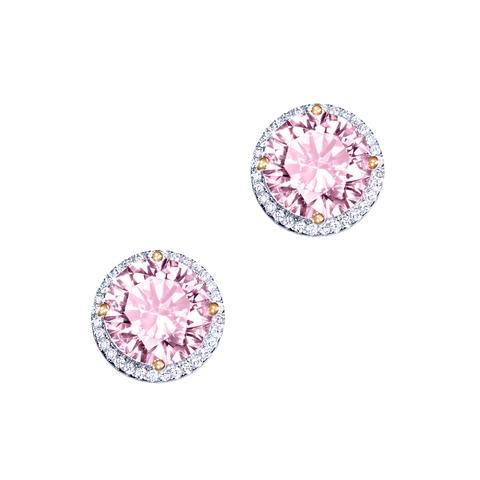 Пусеты CARATS  из серебра с круглыми, розовыми цирконами в стиле Ko Jewelry 4865