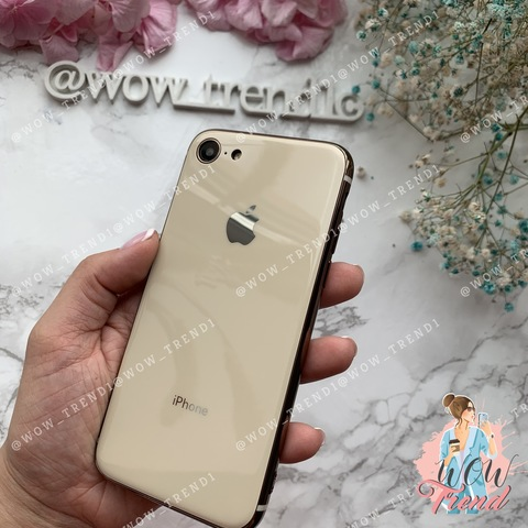 Чехол iPhone 7/8 Glass Silicone Case Logo /gold/