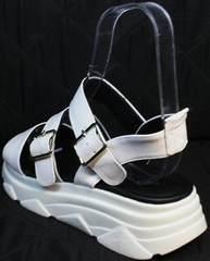 Летние кожаные босоножки с высокой подошвой женские Evromoda 3078-107 Sport White