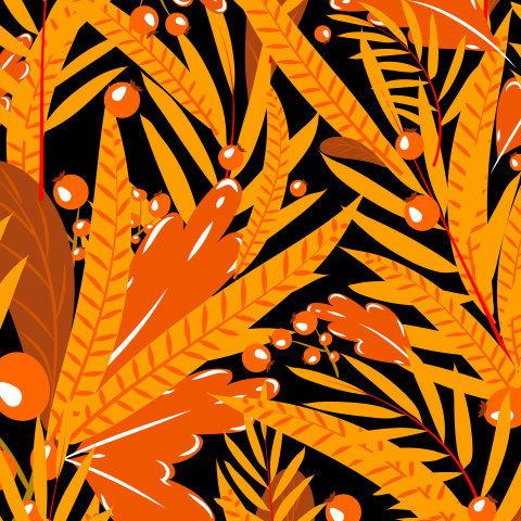 оранжевые листья и ягоды