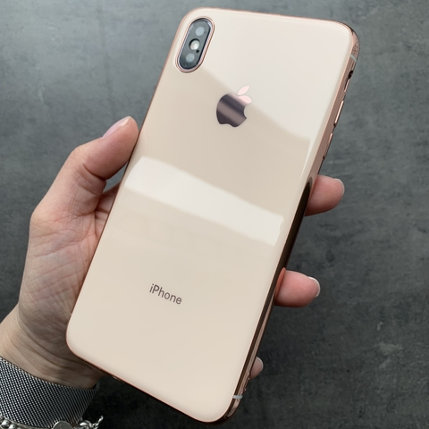 Чехол iPhone XS MAX Glass Silicone Case Logo /rose/