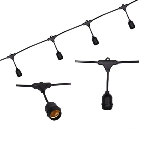 Евро Белт-лайт 2-х жильный, 10 метров, патроны Е27, шаг 50см, черный кабель, IP65