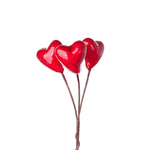 Набор сердец на вставках 3 шт., D3,5 x 4 x L10 см, цвет: красный