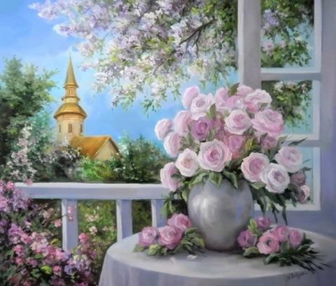 Картина раскраска по номерам 40x50 Розовые цветы в букете, на столе и у окна