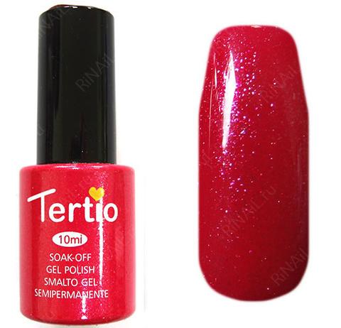 TERТIO ГЕЛЬ ЛАК Т 063 яркий розово-красный с микроблестками, плотный.