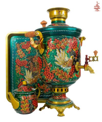 Самовар «Летняя рябина» угольный формой банка 7 л в наборе с подносом и чайником