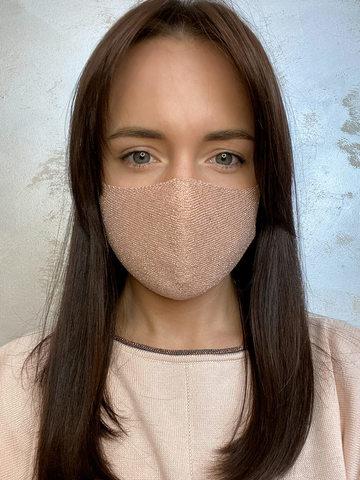 Женская гигиеническая трикотажная маска светло-розового цвета - фото 2