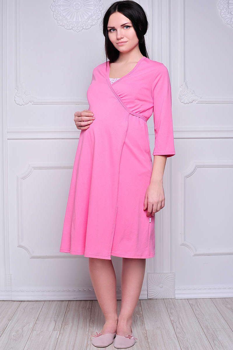Комплект для беременных и кормящих с халатом и сорочкой 00360 розовый
