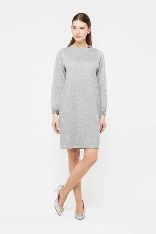 Фото серое трикотажное платье прямого покроя с длинным рукавом - Платье З399-826 (1)