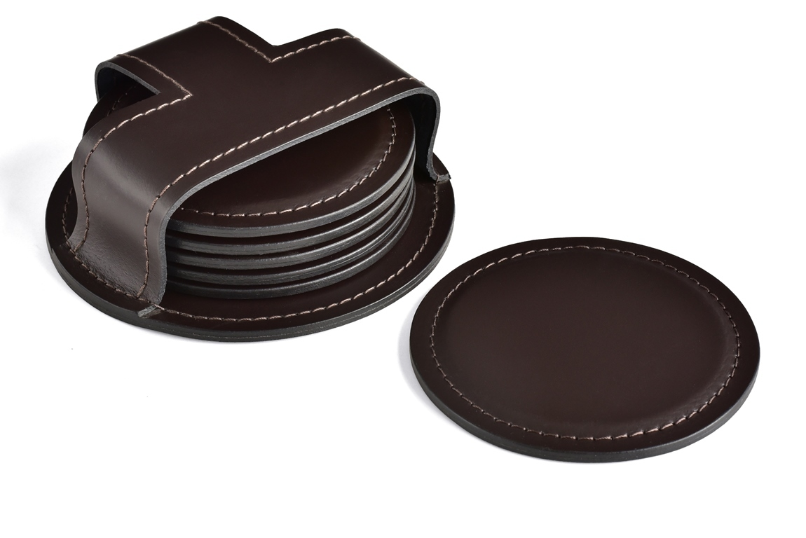 набор подставок кожаных для чашек цвет темно-коричневый