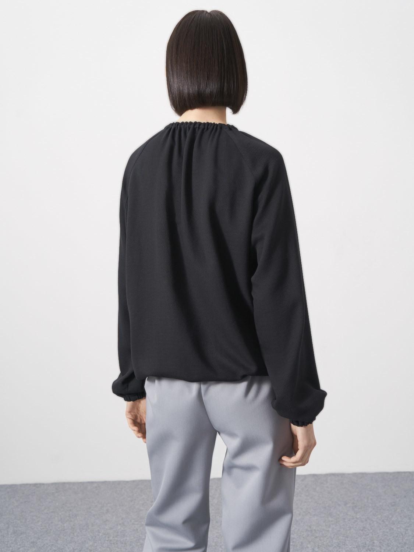 Блуза Anabel со сборкой по горловине, Черный