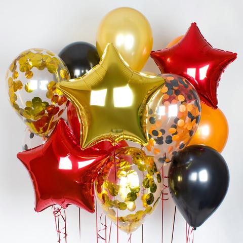 звезды красные, шары с конфетти, звезды золотые, шары на 9 мая