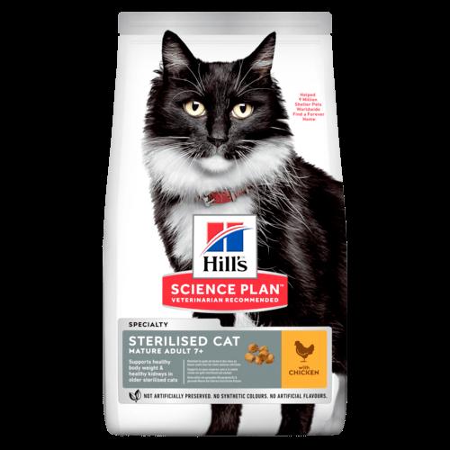 Hill's Корм для стерилизованных кошек от 7 лет Hill`s Science Plan Mature Adult 7+ Sterilised, с курицей sp-feline-science-plan-mature-adult-7-plus-sterilised-cat-chicken-dry-productShot_500.png.rendit.png