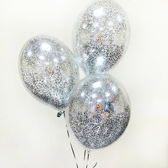 Воздушные шары с мелким серебрянным конфетти
