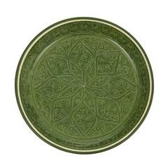 Риштанский Ляган 32 см. плоский зеленый