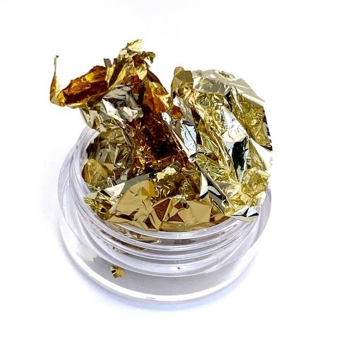 Слюда (фольга поталь) двусторонняя 14*14 см светлое золото/золото