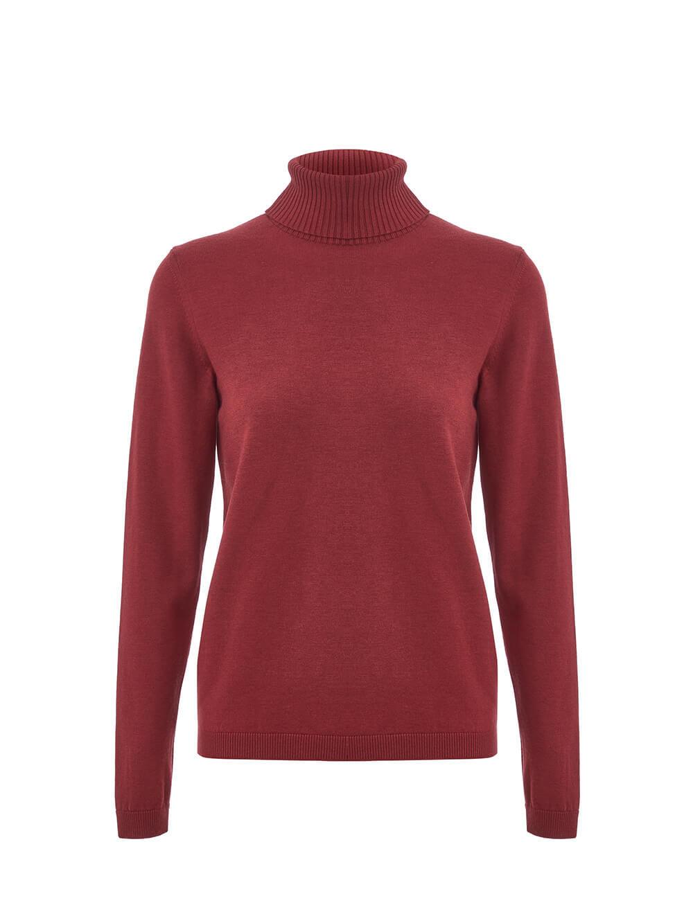 Женский свитер красного цвета из шерсти и шелка - фото 1