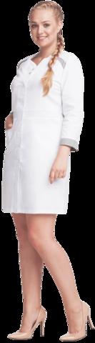 Халат МАРИНА белый-серый ткань Оптима