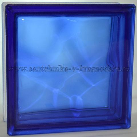 Стеклоблок синий  окраска в массе Vitrablok 19x19x8