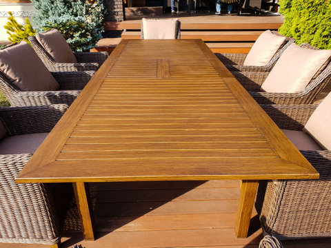 Раскладной обеденный стол «Тоскана» из алюминия, цвет коричневый