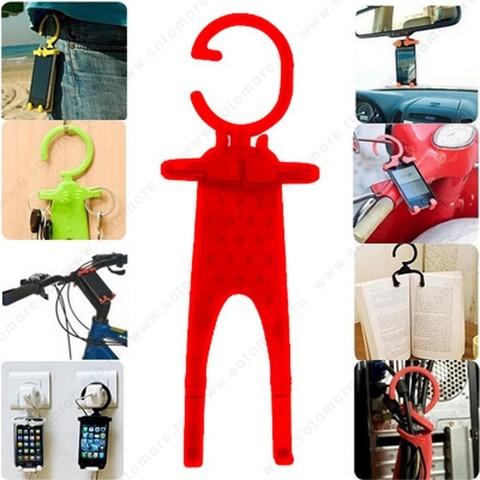 Торговое оборудование - Подставка универсальная для смартфонов можно подвешивать за гибкий крюк красный