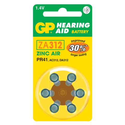 Батарейки для слуховых аппаратов GP ZA312-D6