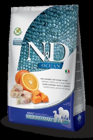 Сухой беззерновой корм Farmina N&D OCEAN COD, PUMPKIN & ORANGE ADULT MEDIUM & MAXI для взрослых собак средних и крупных пород