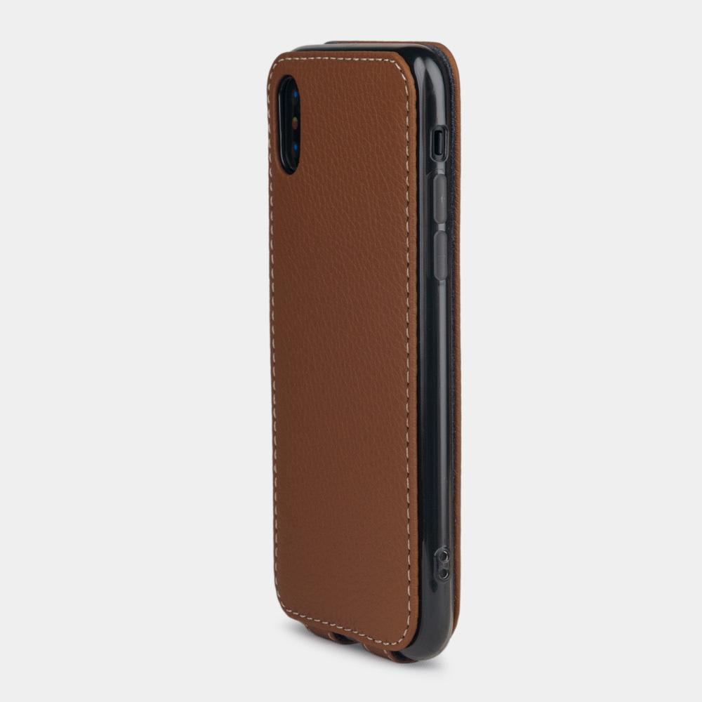 Чехол для iPhone XS Max из натуральной кожи теленка, цвета карамель