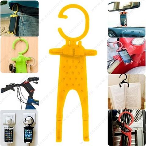 Торговое оборудование - Подставка универсальная для смартфонов можно подвешивать за гибкий крюк желтый