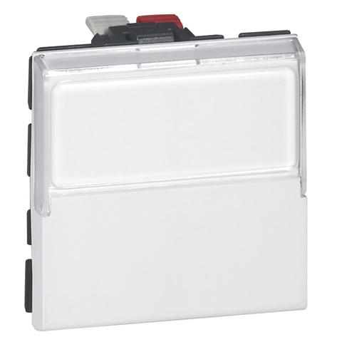 Кнопочный выключатель перекидной 2 модуля. - с держателем этикеток - 6 A. Цвет Белый. Legrand Mosaic (Легранд Мозаик). 077043