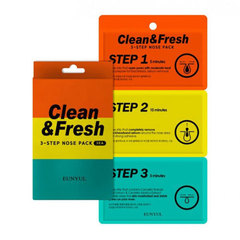Eunyul Clean & Fresh 3-Step Nose Pack - Трехэтапные полоски для носа