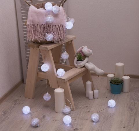 Ночник гирлянда Клубки шарики бело-серебристые  d-6 см, 5 м