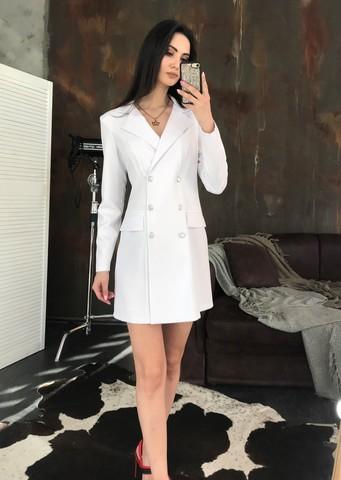 Лиона. Великолепное платье-пиджак. Белый