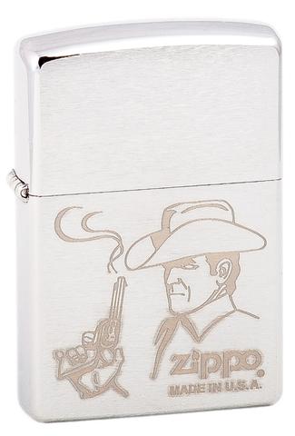 Зажигалка Zippo Cowboy с покрытием Brushed Chrome, латунь/сталь, серебристая, матовая, 36x12x56