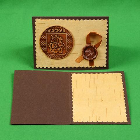 Открытка Москва герб, береста, картон