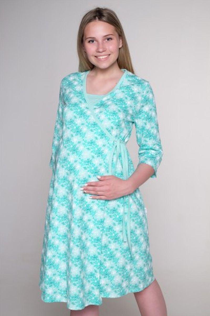 Комплект для беременных и кормящих с халатом и сорочкой 00360 зеленый