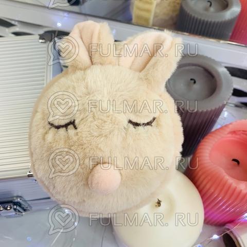 Ободок на уши складной Плюшевый Спящий Зайка (цвет: Молочный)