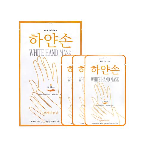 KOCOSTAR | Восстанавливающая маска для рук «Увлажнение и Сияние» Набор из 3 шт / White hand mask, (3 х 8 мл)