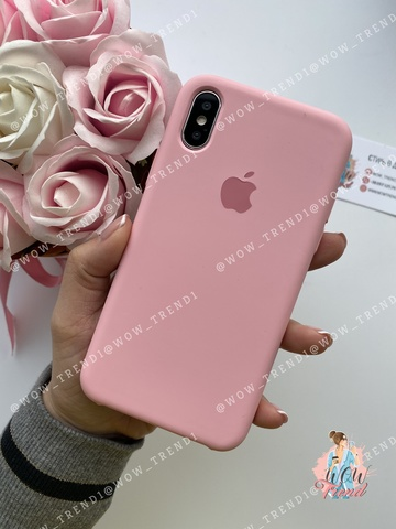 Чехол iPhone XS Max Silicone Case /light pink/ розовый 1:1
