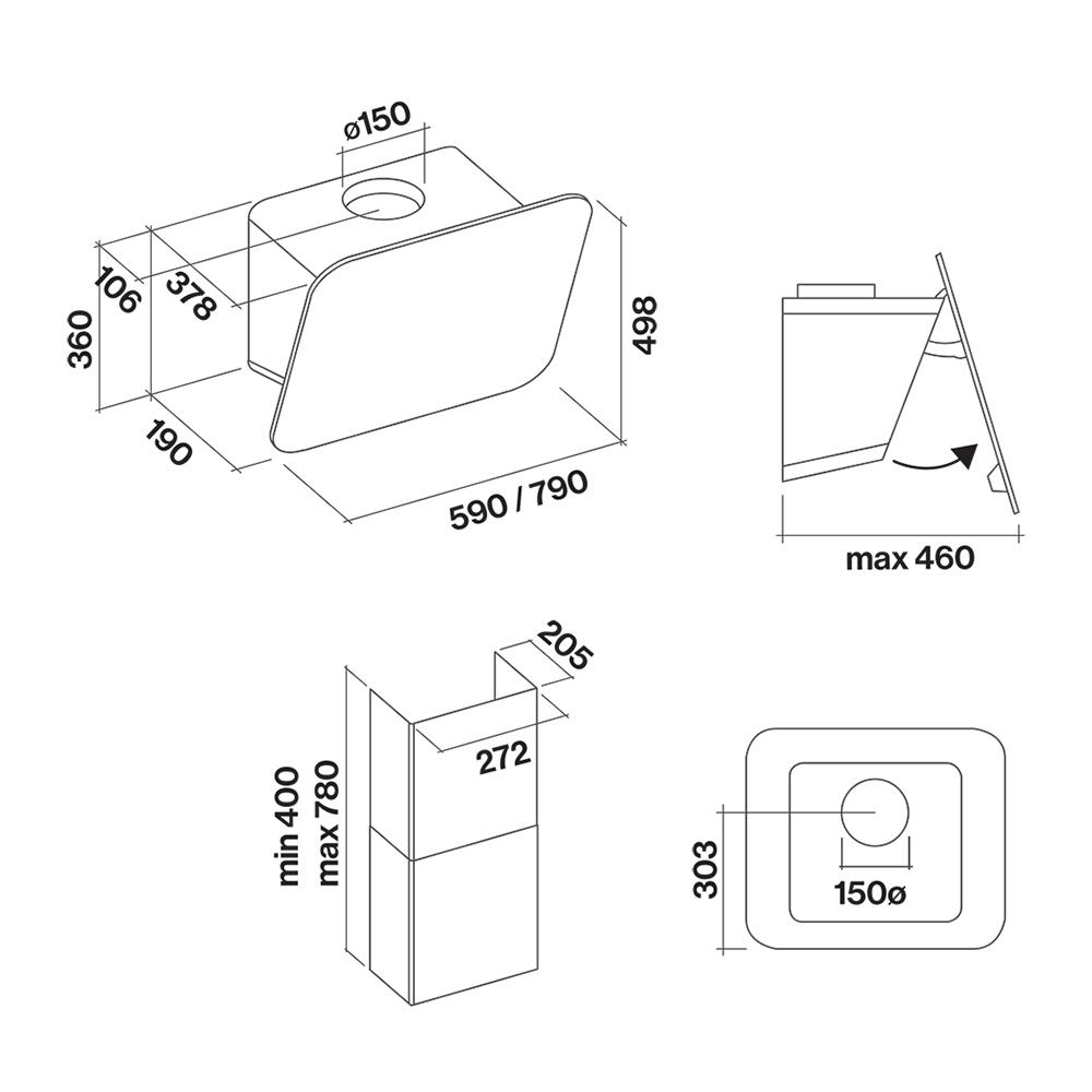 Кухонная вытяжка Falmec Design Tab 80 матовый серый