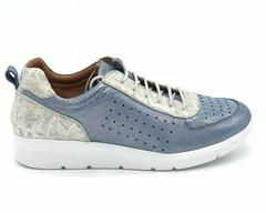 Синие кроссовки с перфорацией из натуральной кожи