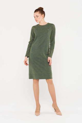 Фото зеленое платье-толстовка с рукавами-реглан - Платье З405-668 (1)