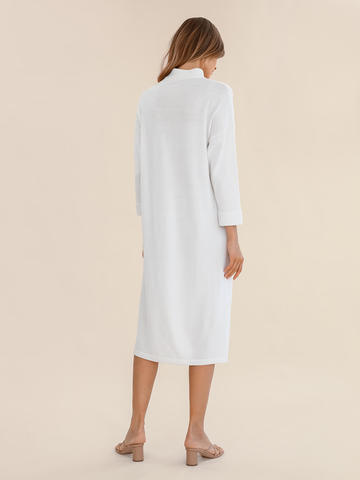 Женское платье молочного цвета из 100% шерсти - фото 4
