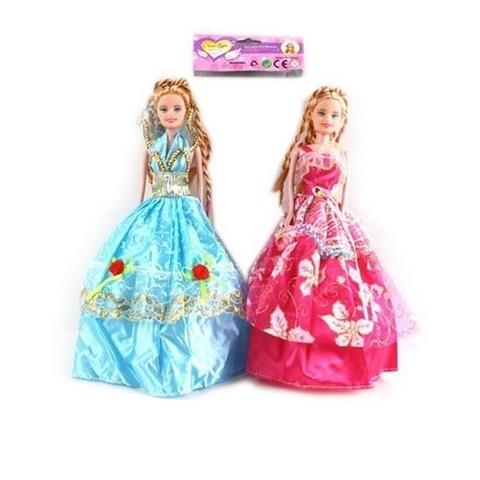 Кукла в бальном платье и волосы косички литая в ассортименте в пакете, 1кор*1бл*3шт