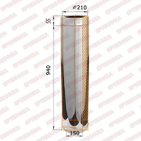 Труба-сэндвич 1,0м d150х210мм (430/0,5мм+нерж) Ferrum