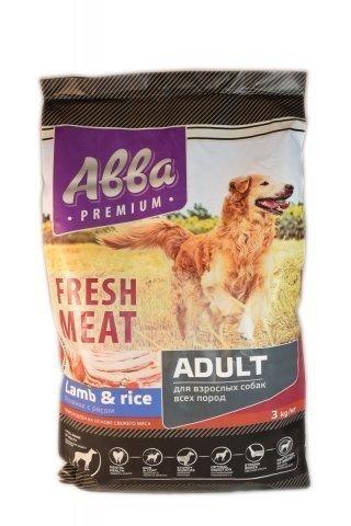ABBA Premium Fresh Meat Adult корм для собак всех пород старше 1 года, с ягненком и рисом 3 кг.