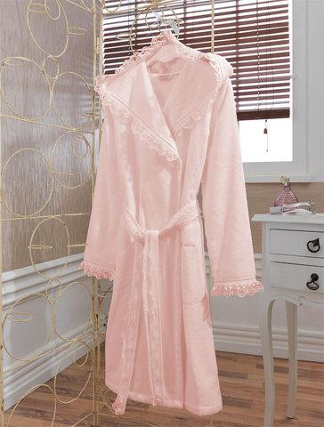 LUNA- ЛУНА  Розовый махровый женский халат с капюшоном Soft Cotton (Турция)