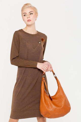 Фото коричневое платье полуприлегающего силуэта с длинным рукавом без воротника - Платье З405-671 (1)