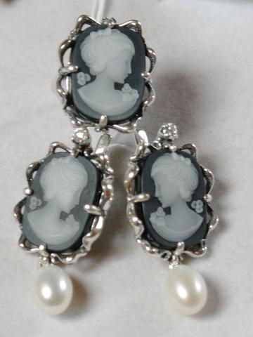 Камея жемчуг (кольцо + серьги из серебра)